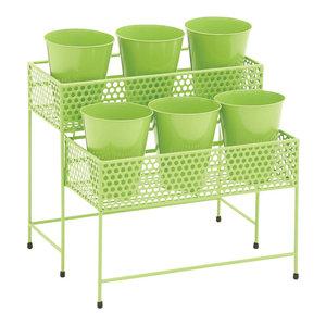 پایه و استند گلدان 2 طبقه ، سبز رنگ