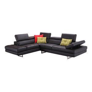 کاناپه راحتی L ال چرمی ، ایتالیایی ، مشکی